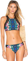 Nanette Lepore Habanera Stargazer Halter Top in Teal. - size L (also in )
