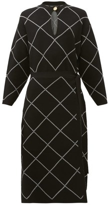 Proenza Schouler Chain-link Print Crepe Midi Dress - Womens - Black White
