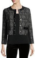 Michael Simon Dressy Cropped Jacket W/ Stone Trim, Plus Size