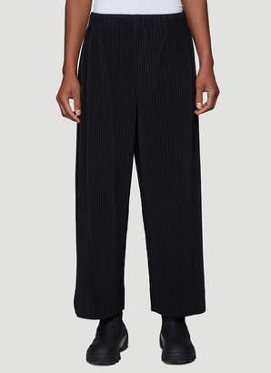Issey Miyake Homme Plisse Pleated Wide-Leg Pants in Black