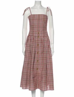REJINA PYO Plaid Print Midi Length Dress w/ Tags Red