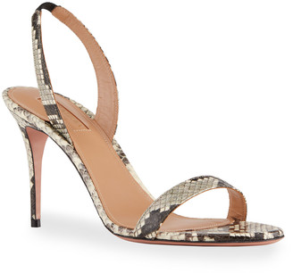 Aquazzura So Nude 85mm Snakeskin Sandals