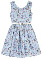 Yumi Bunting Print Party Dress Blue
