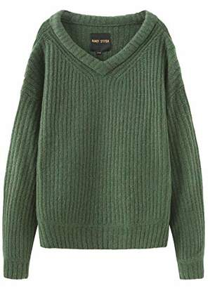 Fancy Stitch Women's V-Neck Loose Fit Rib Knitted Sweater