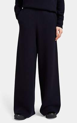 Jil Sander Women's Compact Knit Wool-Blend Wide-Leg Pants - Navy