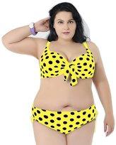 Ensnovo Womens Vintage Dots Plus Size Bikini Push Up Halter Top , 3XL
