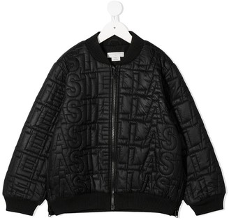 Stella Mccartney Kids Quilted Logo Bomber Jacket