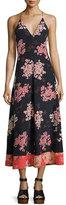 Rebecca Taylor Phlox Sleeveless Floral-Print Silk Maxi Dress, Navy