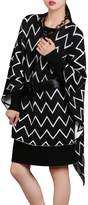 DELUXSEY Womens Chevron Double-Layer Pullover Poncho (Black, M - L) 1201CAN