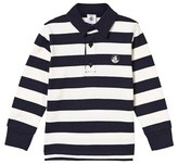 Petit Bateau Navy and White Jersey Polo Top