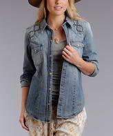 Stetson Blue Denim Stud Button-Up Top - Women