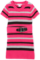 Pink Angel Cherry Pink Stripe Belted Sweater Dress - Infant Toddler & Girls
