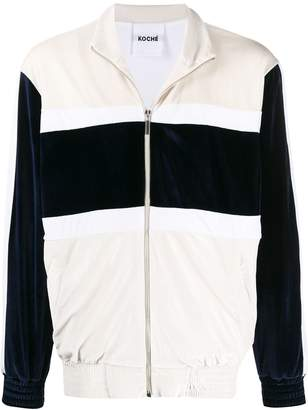 Koché zip-through striped velvet jacket