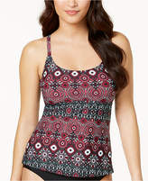 Island Escape Monaco Flame Medallion-Print Strappy Push-Up Tankini Top, Created for Macy's Women's Swimsuit