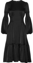 Co Gathered Satin Midi Dress - Black