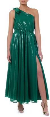 MSGM Green One Shoulder Long Dress