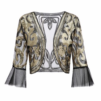 Metme Women Floral Sequin Shrug Jacket Open Front Glitter Cropped Bolero Shrugs 2/3 Bell Sleeves Lace Cardigan