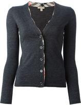 Burberry check trim v-neck cardigan - women - Wool - S
