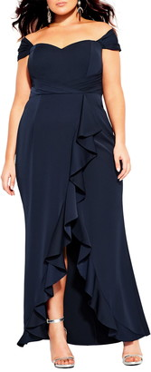 City Chic Hypnotize Off the Shoulder Tulip Gown