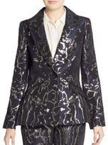 Oscar de la Renta Metallic-Embroidered Blazer