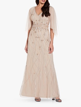 Adrianna Papell Beaded Flutter Sleeve Fitted Gown, Biscotti