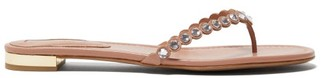 Aquazzura Tequila Crystal-embellished Leather Sandals - Nude