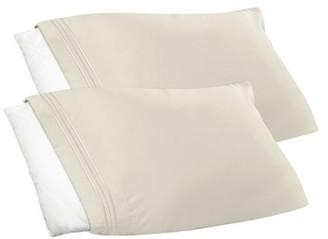 Clara Clark Premier 1800 Collection Pillowcase Set - Standard Size, Purple Eggplant, 2 Piece