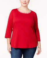 Karen Scott Plus Size Cotton Braided-Trim Top, Created for Macy's