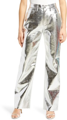 WeWoreWhat High Waist Baby Bootcut Faux Leather Pants
