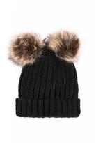 Quiz Black Double Pom Pom Hat