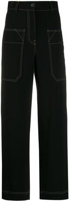 Alberto Biani Contrast Stitching Straight-Leg Trousers