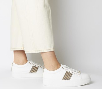 Office Freestyle Lace Up Trainers White With Strass