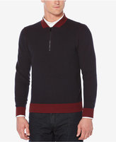 Perry Ellis Men's Classic Fit Quarter-Zip Colorblock Sweater