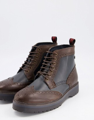 Base London Londone banner two tone brogue boots