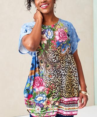 Peek A Boom Peek-a-BOOM Women's Tee Shirts MULTI - Blue Floral & Cheetah Print Tunic - Plus