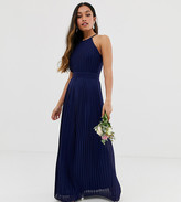 TFNC Petite Petite bridesmaid exclusive high neck pleated maxi dress in navy
