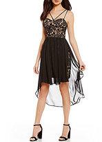 Jodi Kristopher Strappy-Neckline Lace Bodice High-Low Sheath Dress