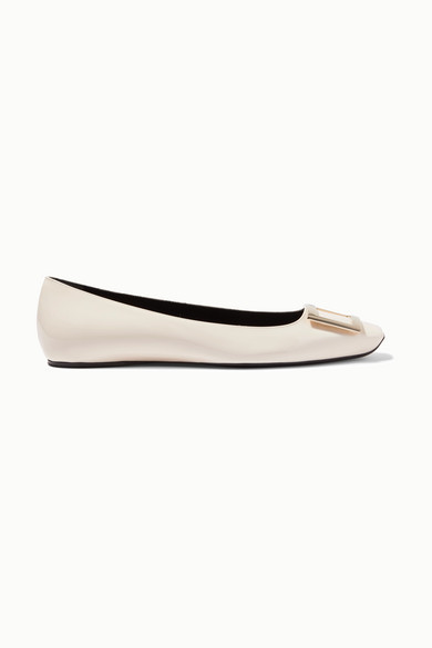 Roger Vivier Trompette Bellerine Patent-leather Ballet Flats - White