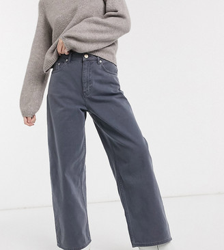 ASOS DESIGN Petite High rise 'relaxed' dad jeans with in pebble gray
