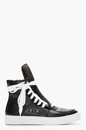Kris Van Assche KRISVANASSCHE Black & White Leather Paneled Sneakers