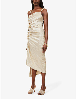 Paco Rabanne Asymmetric-hem ruched stretch-metallic midi dress