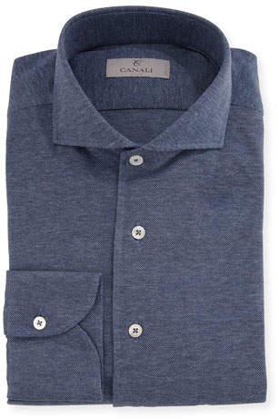 Canali Knit Barrel-Cuff Dress Shirt