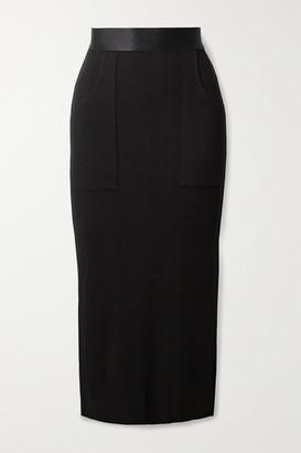 The Range Ribbed-knit Midi Skirt - Black