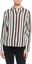 Frame Striped Button-Front Cuffed Silk Blouse