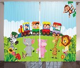 Cartoon Curtains by Ambesonne, Kids Nursery Design Happy Children on a Choo Choo Train with Safari Animals Artwork, Living Room Bedroom Window Drapes 2 Panel Set, 108 W X 63 L Inches, Multicolor