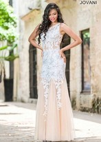 Jovani Lace Embellished Illusion Jewel Neck Tulle Trumpet Dress 24551