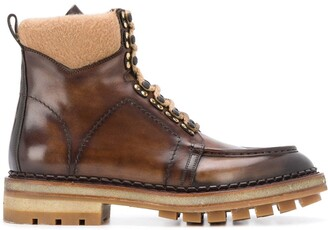 Santoni Chunky Lace-Up Leather Boots