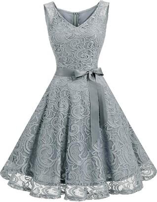 Dressystar 0010 Short Floral Lace Bridesmaid Dress Cocktail Party Dress V Neck M Mint