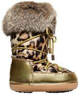 Roberto Cavalli Leopard Printed Nylon Snow Boots W/ Fur