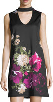 Neiman Marcus Floral-Print Satin Dress
